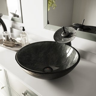 VIGO Gray Onyx Glass Vessel Sink and Waterfall Faucet Set in Matte Black Finish