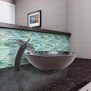 VIGO Enchanted Earth Glass Vessel Sink and Waterfall Faucet Set in Matte Black Finish