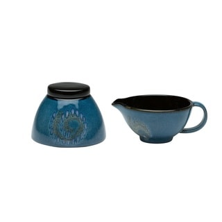 Red Vanilla Organic Blue 2-piece Covered Sugar Bowl and Creamer Set