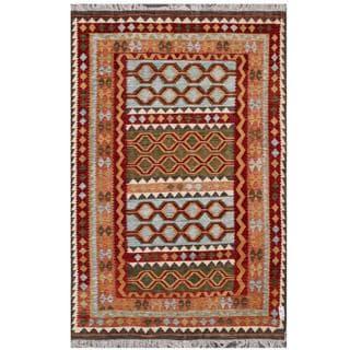 Herat Oriental Afghan Hand-woven Tribal Kilim Burgundy/ Rust Wool Rug (6'6 x 9'9)
