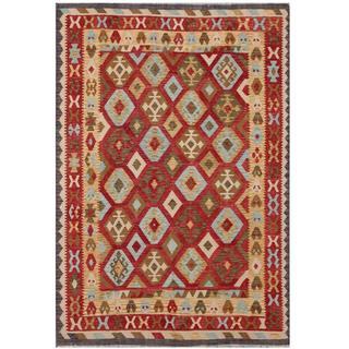Herat Oriental Afghan Hand-woven Tribal Kilim Red/ Beige Wool Rug (6'8 x 9'5)