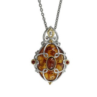 Michael Valitutti Gold over Silver Baltic Amber Garnet and Sapphire Pendant