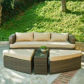 Amelia 4-piece Dark Brown Wicker Patio Set with Beige Cushions