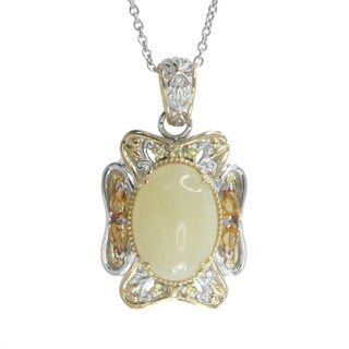 Michael Valitutti Palladium Silver Yellow Opal Citrine Sapphire Pendant