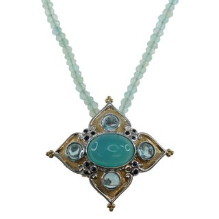 Michael Valitutti Sterling Silver Chalcedony and Swiss Blue Topaz Necklace