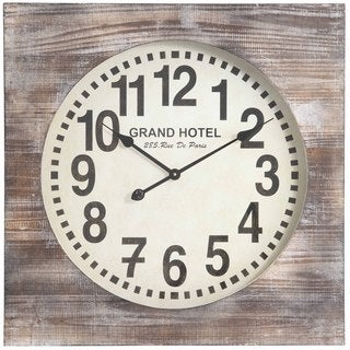Cooper Classics Cilo Wood Square Clock