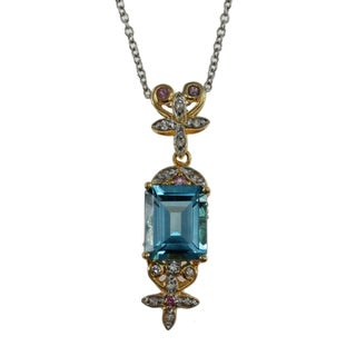 Michael Valitutti Sterling Silver Swiss Blue Topaz Spinel Necklace
