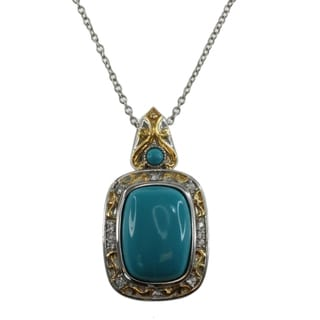 Michael Valitutti Sterling Silver Turquoise Spinel Pendant