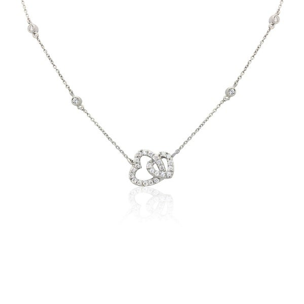 Sterling Silver Cubic Zirconia Interlocked Hearts Chain Necklace