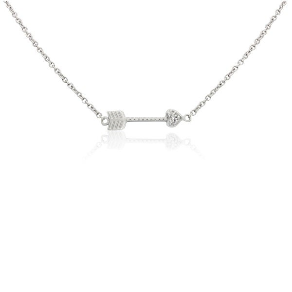Sterling Silver Cubic Zirconia Heart Arrow Chain Necklace
