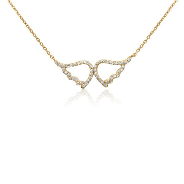 Yellow Gold-plated Sterling Silver CZ Angels' Wings Pendant Necklace