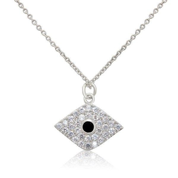 Sterling Silver Cubic Zirconia Hamsa Eye Chain Necklace