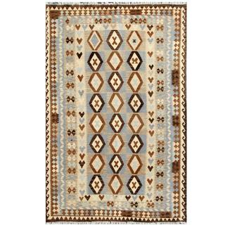 Herat Oriental Afghan Hand-woven Tribal Kilim Ivory/ Light Blue Wool Rug (6'4 x 9'7)