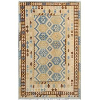 Herat Oriental Afghan Hand-woven Tribal Kilim Beige/ Light Blue Wool Rug (6'3 x 9'7)