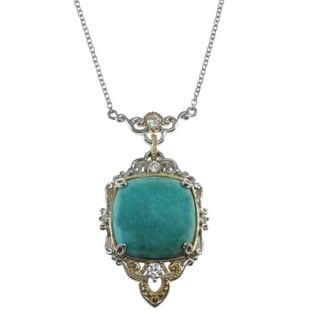 Michael Valitutti Sterling Silver Cushion-cut Turquoise Necklace