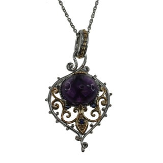 Michael Valitutti Sterling Silver Amethyst Sapphire Necklace