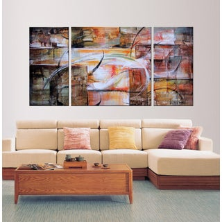 Hand-painted 'Abstract loops' Gallery-wrapped Oil on Canvas Art Set