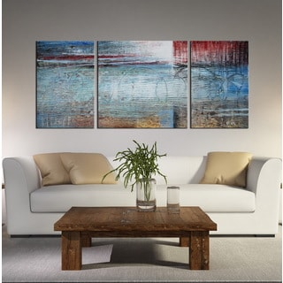 Hand-painted Oil 'Abstract 623' Gallery-wrapped Canvas Art Set