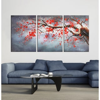 Hand-painted 'Plum bloosom 633' 3-piece oil on Canvas