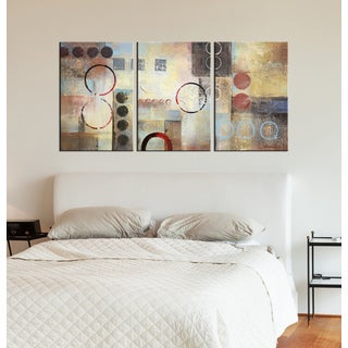 Hand-painted 'Circles' 3-piece Gallery-wrapped Oil on Canvas Art Set