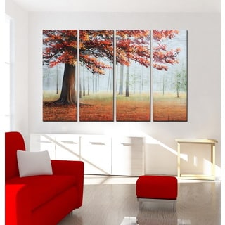 Hand-painted 'Trees 635' Gallery-wrapped Oil on Canvas Art Set