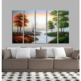 Hand-painted Oil 'Landscaping 641' 5-piece Gallery-wrapped Canvas Set