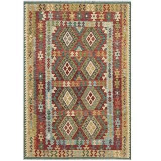 Herat Oriental Afghan Hand-woven Tribal Kilim Light Blue/ Burgundy Wool Rug (5'4 x 7'10)