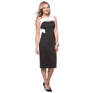 Vince Camuto Black and White Colorblock Keyhole Sleeveless Dress