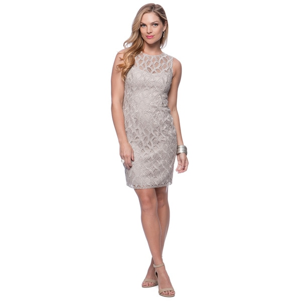 Vince Camuto Taupe Lace Sleeveless Shift Dress