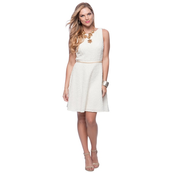 Vince Camuto Cream Gold Chain Belt Fitted Flare Dress