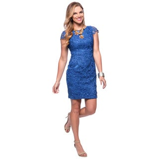 Vince Camuto Women's Cobalt Lace Flutter Sleeve Shift Dress