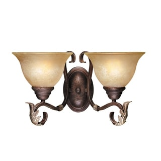 Olympus Tradition Collection 2-light Wall Sconce in Crackled Bronze with Silver