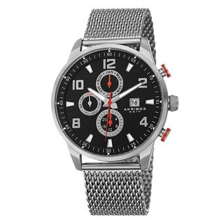 Akribos XXIV Men's Swiss Quartz Multifunction Dual Time Stainless Steel Mesh Bracelet Watch