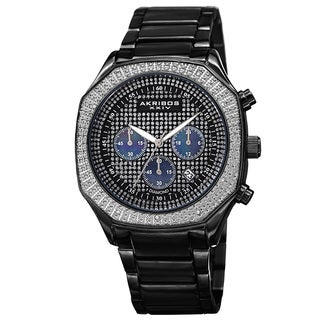 Akribos XXIV Men's Chronograph Octagon Case Stainless Steel Bracelet Watch