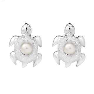 Pacific Turtle Freshwater Pearl .925 Silver Stud Earrings (Thailand)