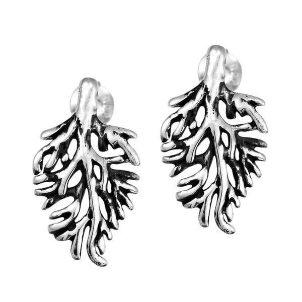 Enchanting Cypress Leaf .925 Sterling Silver Stud Earrings (Thailand)