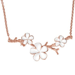 Plumeria Blossoms Rose Vermeil Solid .925 Silver Necklace (Thailand)