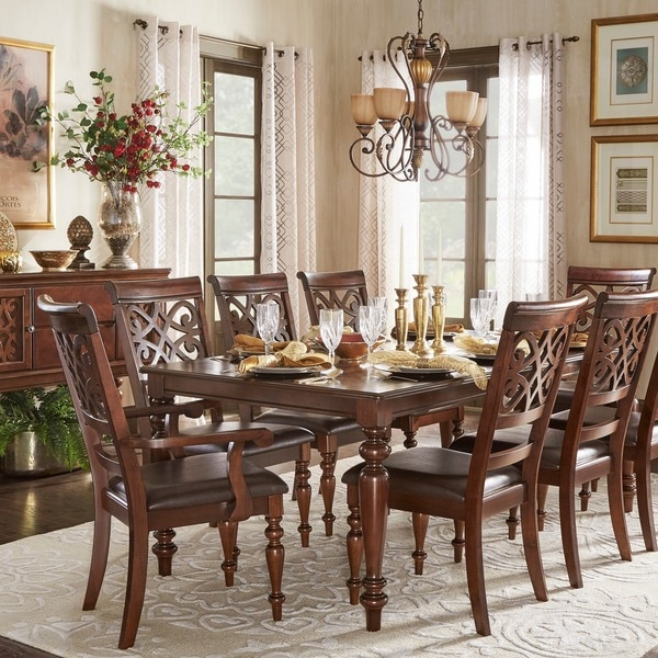 Tribecca home emma catherine cherry extending dining set for B q dining room ideas