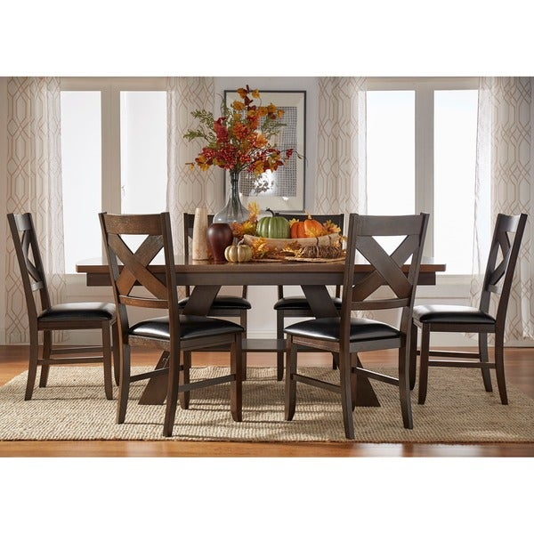 Acadia Dark Brown with UV Coated Light Brown Table Top 7-piece Dining Set
