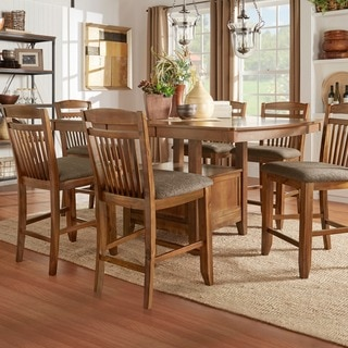 Octavia Warm Oak Counter Height Storage Base 9-piece Dining Set