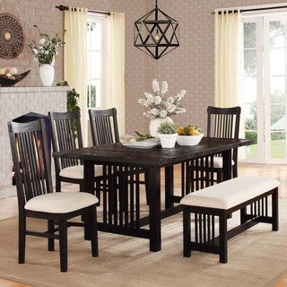 Xenia Contemporary Black Driftwood 6-piece Extending Dining Set