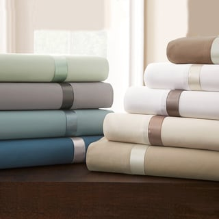 Amraupur Overseas 400 Thread Count 100-percent Cotton 4-piece Sheet Set with Satin Band