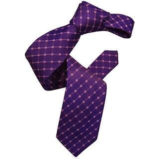 Dmitry Men's Purple Patterned Italian Silk Tie