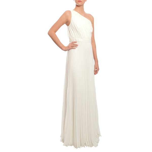 Carmen Marc Valvo Romantic White Bead Lace One Shoulder Evening Gown