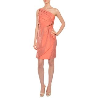 Kay Unger Charming Spice Pleated Rhinestone One Shoulder Silk Cocktail Dress