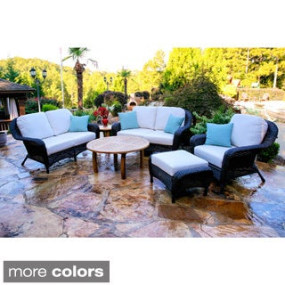 Richmond 6-piece Round Teak Coffee Table Double Loveseat Set