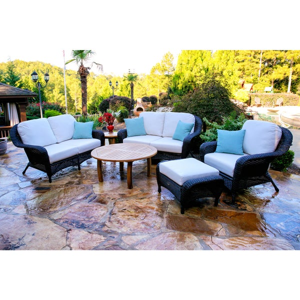 Richmond 6 piece Round Teak Coffee Table Double Loveseat Set