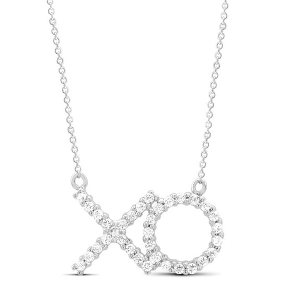 Sterling Silver Cubic Zirconia XO Necklace