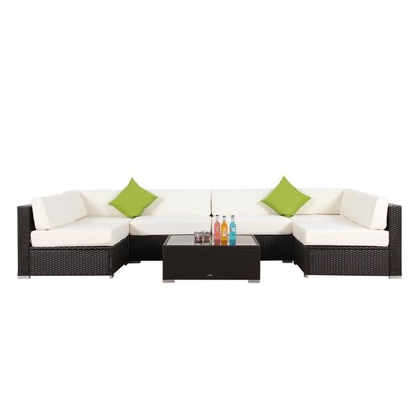 Broyerk 7 piece outdoor rattan patio furniture set for Outdoor furniture 7 piece
