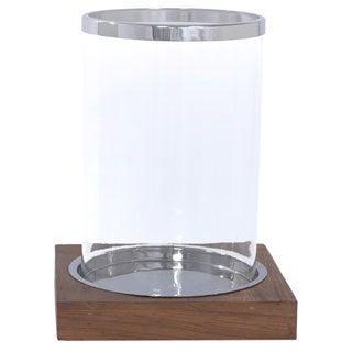 Polished Aluminum/ Glass/ Old Wood Hurricane Candle Holder